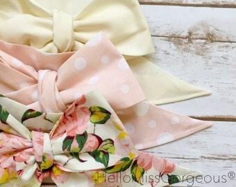 Gorgeous Wrap Trio (3 Gorgeous Wraps)- Ivory, Dottie Light Pink & Linen Floral Gorgeous Wraps; headwraps; fabric head wraps; headbands