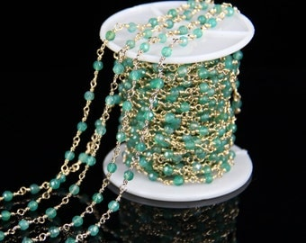 10 feet/lot Fashion Girls Jewelry,Green Agate Faceted Round Beads Chain,Gold Brass Rosary Chains Necklace Gift