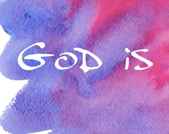 Love Wall Art For Bedroom, Scripture Sign Decor, God Is Love, Inspirational Signs and Sayings, Watercolor Purple and Pink,  2017SA4H