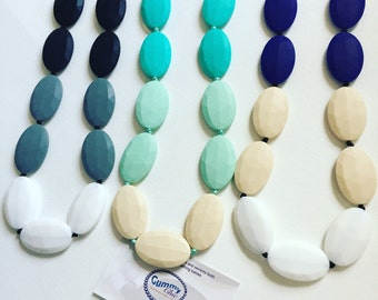 Silicone Teething Necklace - Bite Beads Nursing Necklace - Teether Chewing Beads - Nursing Necklace Jewelry - Chew Jewelry - Gummy Chic Chew