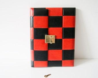 Retro letters workbook, file folders 60s art leather, Binder red black Plaid