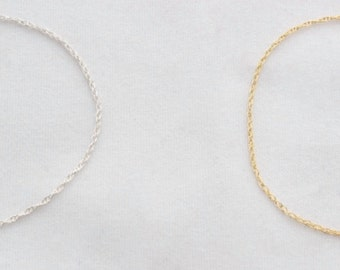 Rope Chain Bracelet in Sterling Silver or 14k Gold Filled