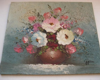 Beautiful small acrylics painting bouquet of flowers on fibreboard.