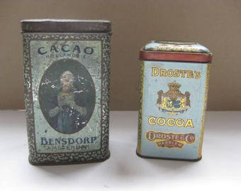 2 Cocoa tins , one Bensdorp and one  Droste.