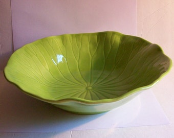 Vintage Metlox Poppytrail Lime Green Lotus 11'' Serving Bowl California Vernon Pottery China Dinnerware