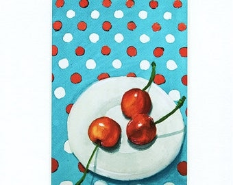 Cherries on a Plate Art Print,  5 x 7 art print, Watercolor art print, Still life art print, fruit art print, kitchen art print