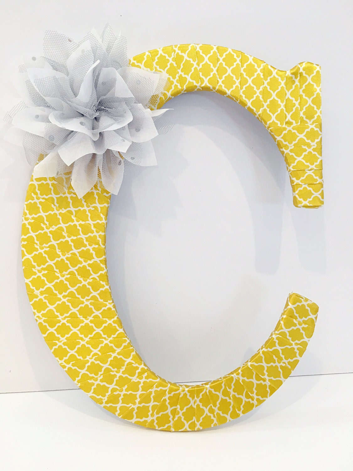 Yellow Nursery Decor, Yellow Home Decor, Yellow and Grey Baby Shower, Front Door Decor, Wreath Initial, Initial Decor, Decorative Letters