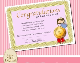 Free printable Tooth Fairy certificate  The Fairy Nice