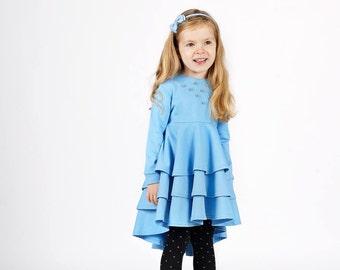 SALE!Girls dresses-organic girls dress-girls blue dress-toddler long sleeve dress-organic girls dress-Warm girls dress 12-18 months 4T