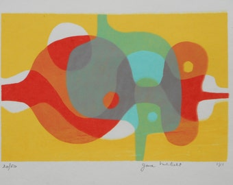 Original 1981 silkscreen note card, signed , numbered and dated by Jane Mitchell - two color options
