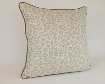 "Decorative Throw Pillow COVER in Natural and White Leopard Print Linen 20"" Square"