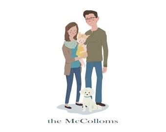 CUSTOM Family Portrait Illustration/ DIGITAL FILE/ Original Illustration