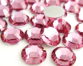 3,000 Piece 5mm Pink High Quality Resin 14-Facet Flat Back Round Rhinestones