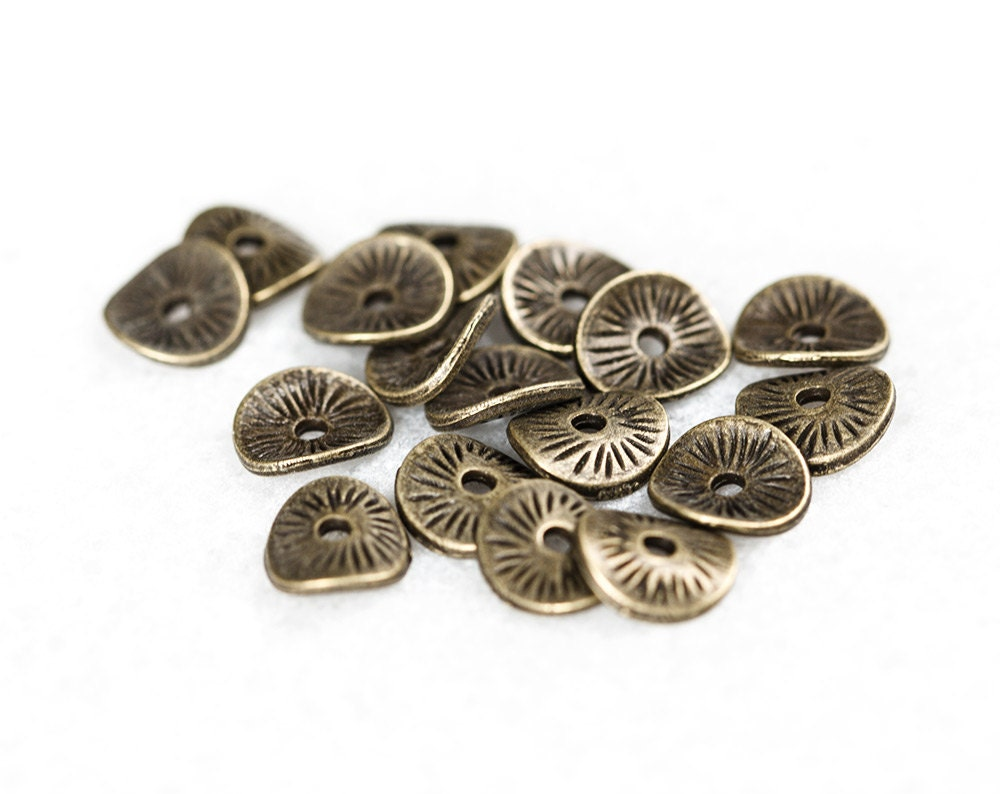 2380_Bronze Spacer Beads 9x8 Mm Wavy Disc Beads Disk Beads