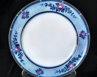 """Burgess & Leigh Flow Blue Ironstone Dinner Plater in the """"Premier"""" pattern circa 1916"""