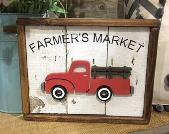 Farm Truck | Farmhouse | Shiplap | Red truck Vintage Truck Sign | Reclaimed Barn Wood | Farmhouse Sign | Red Truck