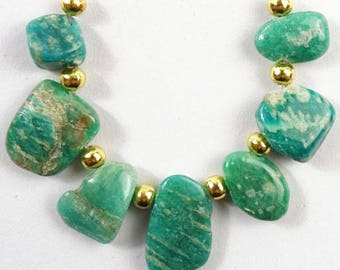 7 pcs Amazonite Natural Green Blue Genuine Untreated Amazonite Free Form Nuggets Beads Set Loose Bead. 17x11x3mm, 11x8x4mm