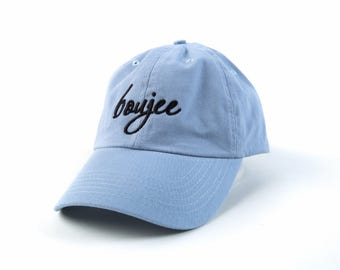 Boujee Hat, Boujee Dad Hat, Boujee Baseball Cap, Embroidered Baseball Cap, Adjustable Strap Back Baseball Cap, Low Profile, Baby Blue