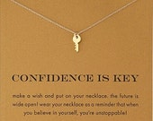 Confidence Is Key Gold Plated Inspirational Necklace