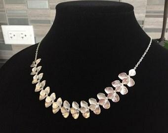 Elegant Statement Necklace, Silver Statement Necklace, Orchid Statement Necklace, Silver Collar Necklace, Silver Bib Necklace, Silver Choker