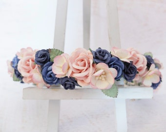 Navy blue and pink flower crown - wedding floral hair wreath - flower headpiece for girls - flower hair accessories