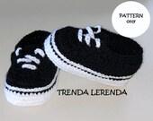 VANS Old Skool style crochet baby booties PATTERN. Crochet baby sneakers. Tutorial step by step. Baby shoes.