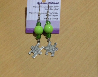 Puzzle piece earrings, puzzle piece pendant, green earrings, green beads, light green beads, dark green beads, sterling silver earrings