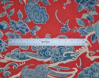 BRUNSCHWIG & FILS Chinoiserie SHISHI Dog Toile Fabric 10 Yards Red Blue
