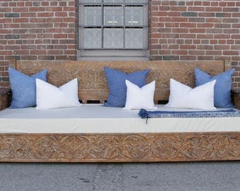 SOLD-Carved Daybed, Indian Daybed, Moroccan daybed, Outdoor daybed, Teak carved daybed, Hand carved daybed, Carved bench, Carved bed