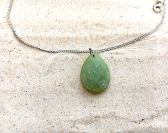Silver stone necklace, green stone necklace, silver necklace