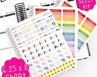 LS106 Fitness Kit Planner Stickers!  A Perfect fit for the Vertical Erin Condren Planner!!!