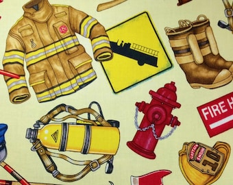 Firemen Print Quilt Fabric on Cream - Fat Quarter or Yardage