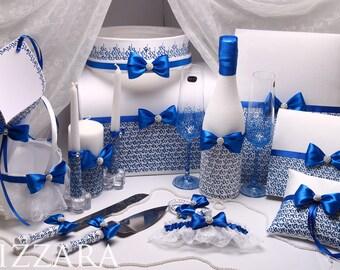 Blue Wedding SET Glasses Wedding Card Box Ring Bearer Pillow Guest book Garter Flower Girl Basket Unity Candles Wedding Server and Knife set