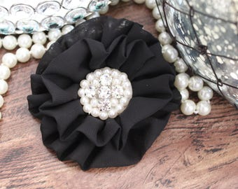 "4"" BLACK Chiffon Fabric Flowers with Crystal Pearl Center - Fluffy - Beautiful -Hair Accessories - Wedding - TheFabFind"