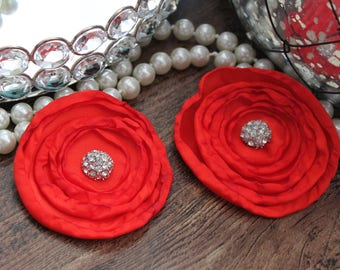 "SET OF TWO - 3"" Red Layered Burned Edge Satin Flowers - Metal Crystal Center Accent- Hair Accessories- Wedding - TheFabFind"