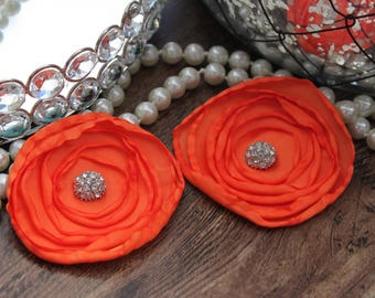 "SET OF TWO - 3"" Bright Orange Layered Burned Edge Satin Flowers - Metal Crystal Center Accent- Hair Accessories- Wedding - TheFabFind"