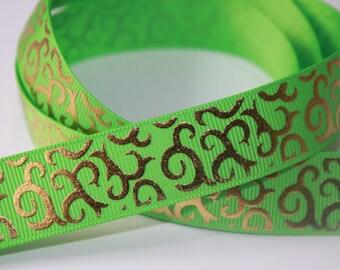 1 Yard - 7/8 inch Gold Foil Vines on Lime Green - Filigree Damask Printed Grosgrain Ribbon for Hair Bow