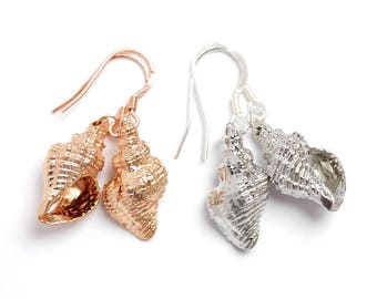 Conch Sea Shell Earrings / Silver or Rose Gold Tone / 925 Sterling Silver or 18K Rose Gold Vermeil Ear Wires / Holiday Earrings