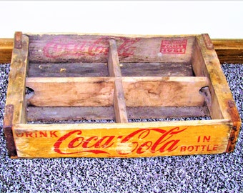 Antique 1961 Chattanooga four slot coca cola crate vintage storage coke delivery wooden crate box