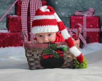 Crochet Long Tailed Infant/Toddler Elf Hat