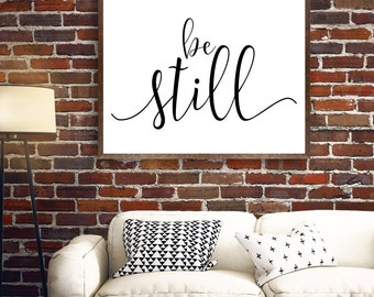Be Still Wall Art, Be Still Printable, Be Still Print, Black and White Cursive Design, Scripture, Gray Frames Digital Print & Home Wall Art