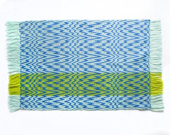 Pale Blue + Lime Green Psychedelic Wave Pattern Handwoven Textile Rug Tapestry