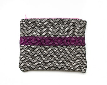 Two-Tone Pink and Purple Geometric Hand Woven Tapestry Pouch Coin Purse Makeup Bag