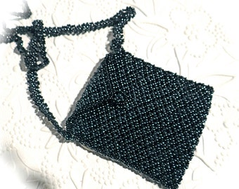 Vintage Beaded Bag Black Beaded Pouch Vintage Jewelry VA-183
