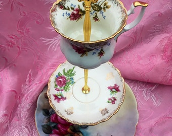 Vintage Rose Limoges, Tiered Tray, 3 Tier Cupcake Stand, Victorian Party, Pink Roses, Brunch, Cupcake Tower, Gold Gilt China, Vintage Teacup
