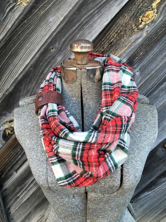 red, green and white plaid flannel eternity scarf with a brown leather cuff - soft, trendy