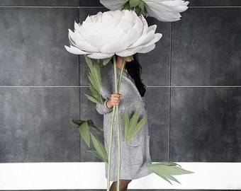Oversized Paper Flowers - Paper Peonies -  Paper Flowers with stem - Giant Standing Paper Flowers