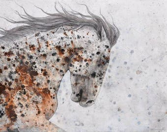 """Appaloosa Two - Original Painting Acrylic on 1.5"""" deep gallery stretched canvas (edges painted)  Impressionist Horse Wall Art, Neutral Color"""