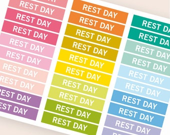 Rest day Heading stickers, planner header stickers, planner stickers, agenda notebook journal stickers, reminder