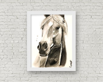 ORIGINAL - Horse, Watercolor, 11x15 inches